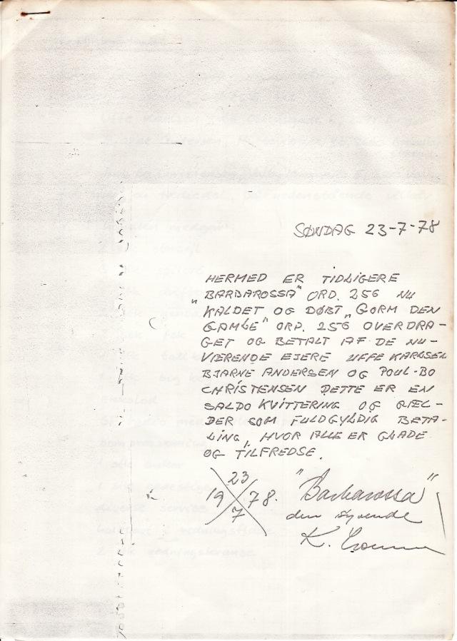 Kvittering 23.7.1978